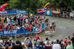 Ben King riding for the US National Team leads a breakaway group up the Libby Hill climb during the UCI Road World Championships on September 27, 2015 in Richmond, Virginia. #Richmond2015 #rm_112