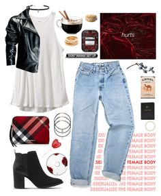 """""""Untitled #162"""" by rulinqs ❤ liked on Polyvore featuring RVCA, Carbon & Hyde, Burberry, Office, Kenneth Jay Lane, Luminarc, Leka and FOSSIL"""