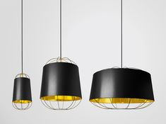 Suspension Lanterna Small / Ø 22 x H 42 cm Noir / Or - Petite Friture - Décoration et mobilier design avec Made in Design