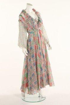 A fine Ossie Clark/Celia Birtwell chiffon dress and matching evening coat 1976