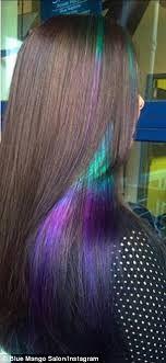 Peek-a-boo oil slick hair