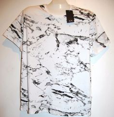 Armani Exchange White Logo Design Cotton Short Sleeve Men T-Shirt Size XL NEW #ArmaniExchange #BasicTee