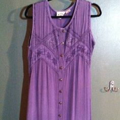 Purple dress. 24 Karat. Made in India. Button up the front. I will sew up part if the front, if you want me to before shipping. Dresses