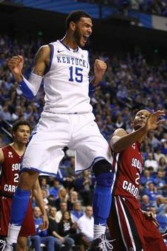 Willie Cauley-Stein celebrating after his dunk. Love it!!