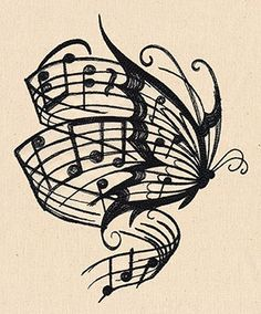 Butterfly and music tattoo design
