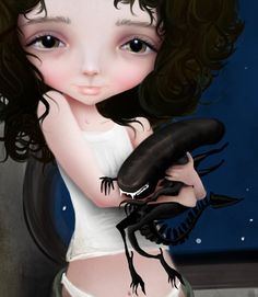 """Best Friends Forever"" - Ellen Ripley and Little Xenomorph by Jessica Grundy"