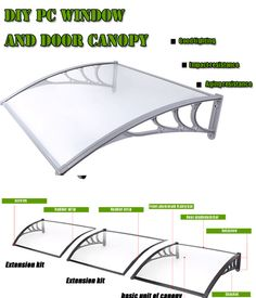 DIY Glass Window Canopy,Door Rain Awning Canopy