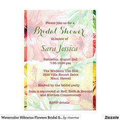 Watercolor Hibiscus Flowers Bridal Shower