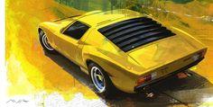 automotive art, car art, lamborghini miura