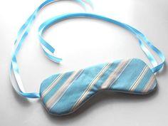 Recycled Necktie Sleep Eye Mask - Light Blue Tan Stripes | Flickr - Fotosharing!