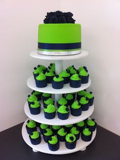Navy Blue & Lime Green cup cake tower | Kelly Warwick Cakes