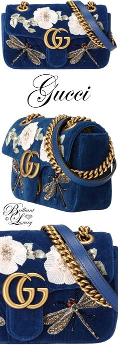 Brilliant Luxury ♦ Gucci GG Marmont embroidered velvet mini bag