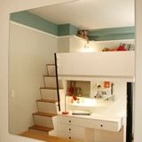 A drab kids room gets a makeover with a custom loft bed.