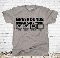 T-Shirt Hunde GREYHOUND WINDHUND  HÖREN WORT   Hund by Siviwonder bis 4XL