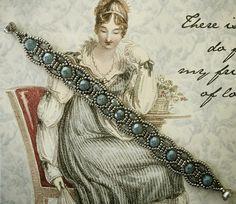 "CANTERBURY BRACELET 11/0 seed beads Miyuki ""Antique Silver-Nickel"" (11-464A) 6mm fire polished beads ""Stone Blue Luster"" 4mm fire polished beads ""Lumi Coated Blue"""