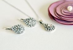 art deco clear crystal swarovski rhinestone tibetan silver plated necklace earrings wedding jewelry bridal jewelry bridesmaids jewelry set by sestras on Etsy https://www.etsy.com/listing/107043366/art-deco-clear-crystal-swarovski