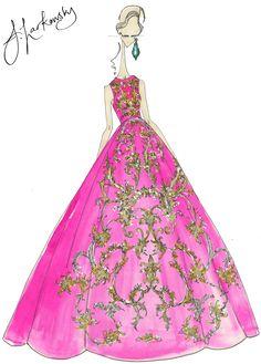 Oscar De La Renta dress fashion re illustration by joseph larkowsky.