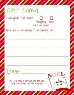 Christmas wish list to Santa - Free Printable