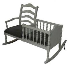 Never seen before I had to pin it.. Add a touch of rich Belgian appeal with this traditional design, offering harmonious style for your home d�cor.        Product: Rocking chair    Construction Material: Wood, foam and fabric Color: Gray and black     Features:   A combined cradle and ladder-back    Upholstered seat    Dimensions: 41 H x 52 W x 35.25 D