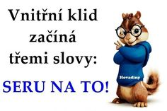 Vnitřní klid začíná třemi slovy: SERU NA TO! Jokes Quotes, Funny Quotes, Funny Memes, Motto, Sarcasm, Quotations, Laughter, Haha, Motivational Quotes