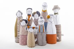 Family portrait  art doll -grandparents, parents ,childrens dressed in natural earth tones , stripes plaid & polka dots - timohandmade dolls by TIMOHANDMADE on Etsy https://www.etsy.com/listing/213240173/family-portrait-art-doll-grandparents