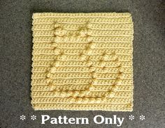 """PATTERN for Crochet CAT for Baby Blanket Square, Afghan / Quilt Block, Dishcloth, Wash Cloth, PDF Cat Crochet Pattern, Easy Pattern, 8x8"""""""