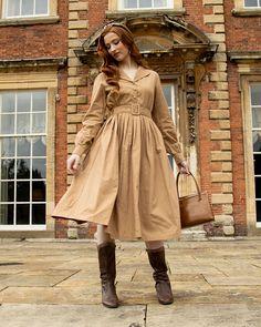 Shannon Light Oak Swing Dress | Vintage Inspired | Lindy Bop Vintage Inspired Dresses, Vintage Dresses, Wire Headband, Grey Midi Dress, Brown Leather Ankle Boots, Light Oak, Models, Swing Dress, Get The Look