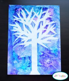 winter tree silhouette (tape on tree, then paint over it), from Meet the Dubiens