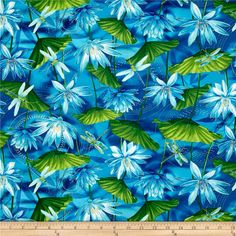 Kanvas Dance Of The Dragonfly  Metallic Waterlily Pool Ultramarine from @fabricdotcom  Designed by Maria Kalinowski for Kanvas in association with Benartex, this cotton print collection features metallic gold accents. Colors include shades of blue, green, white, and metallic gold accents.