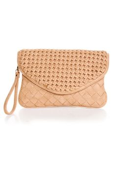 Lattice Harvest Beige Basket-weave Clutch by Urban Expressions