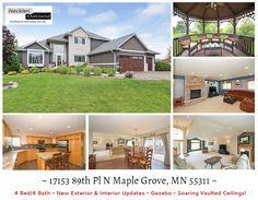 17153 89th Pl N Maple Grove, MN 55311  Just Listed! Clean as a whistle! Super well maintained 4 Bed/4 Bath with open main level floor plan on large lot. New windows, siding, garage doors, H20 softener all in 2014. Updated Kitchen and tile flooring. Vaulted ceilings, full finished basement, backyard gazebo with pond view for privacy. MUST SEE!  For more info & photos visit:http://www.mndreams.com/property/152-4621601-17153-89th-Place-N-Maple-Grove-MN-55311/