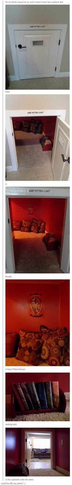Harry Potter reading nook in the cupboard under the stairs! This is the best thing ever!