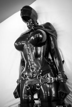 Latex catsuit and vibrator bondage