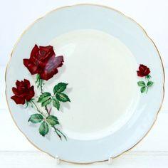 Vintage 1950s Sampson Smith Old Royal Bone China Rose Floral Set 6 Tea Plates