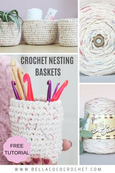 Crochet Nesting Baskets - Bella Coco Crochet Crochet your own Nesting Baskets with this FREE easy to Crochet Home, Diy Crochet, Crochet Crafts, Yarn Crafts, Crochet Ideas, Crochet Bags, Crochet Purses, Knitting Projects, Crochet Projects