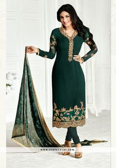 Gorgeous Emerald Color Georgette Fabric Salwar Suit Endorsed By Mouni Roy