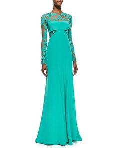 Long-Sleeve Embroidered Lace Inset Gown, Sea Green by Monique Lhuillier at Neiman Marcus.