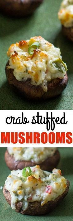 Crab Stuffed Mushrooms are THE BEST! We always make them for parties and they are the first appetizer to go.These Crab Stuffed Mushrooms are THE BEST! We always make them for parties and they are the first appetizer to go. Finger Food Appetizers, Yummy Appetizers, Appetizer Recipes, Party Appetizers, Crab Appetizer, Seafood Appetizers, Party Snacks, Recipes Dinner, Crab Recipes