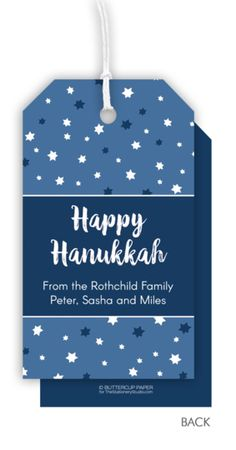 Personalized Starry Hanukkah Hanging Gift Tags