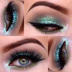 thelipstickjungle_'s photo on Instagram - Green-blue glitter and grey crease