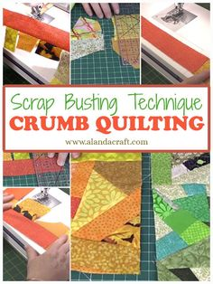 Crumb Quilt Technique Tutorial – Crumb Quilting Fantastic way to use up your scrap stash. This scrap busting idea creates a new piece of fabric that can be used in many projects. No more wondering what to do with those little bits of fabric Quilting For Beginners, Quilting Tips, Quilting Tutorials, Machine Quilting, Quilting Projects, Quilting Designs, Crazy Quilt Tutorials, Scrap Fabric Projects, Diy Sewing Projects