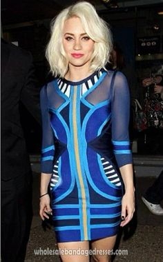 Long sleeve herve leger bandage dress blue celebrity dresses online. herve leger wholesale from China for cheap. fast shipping worldwide.