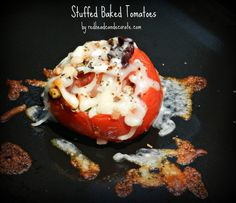 Stuffed Baked Tomatoes…this is a low carb version using kalamata olives and zucchini in the stuffing (no bread).  We both LOVED them!!!  #stuffedtomatoes #lowcarbrecipe
