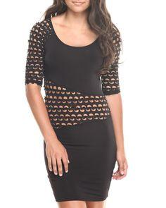 Fashion Lab - Long Sleeve Laser Cutout Dress