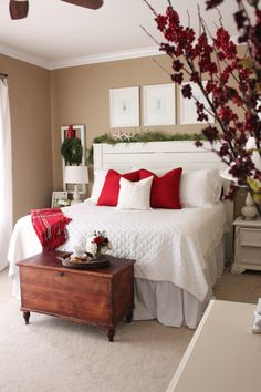 Recently, I shared some photos of our bedroom decorated for Christmas. It was the first year I had decorated a BEDROOM for the holidays and I explained how easy it is to add a few festive touches to any room. The photos I showed you were mostly white and neutral, but just to shake things …