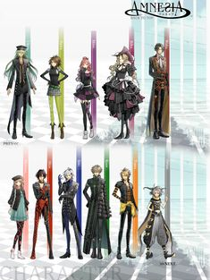 Left, right; top to bottom: Uyko, Sawa, Mine, Rika, Waka, Heroine, Shin, Ikki, Kent, Toma, Orion