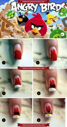Uñas decoradas con Angry Birds - Paso a paso - http://xn--decorandouas-jhb.com/unas-decoradas-con-angry-birds-paso-a-paso/