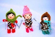 Figuras navideñas con piñas de pino (8)