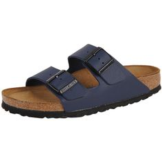 Birkenstock Arizona ($110) ❤ liked on Polyvore featuring shoes, sandals, navy, navy blue strappy shoes, strap sandals, cork footbed sandals, suede sandals and navy strappy sandals