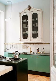 Green kitchen.